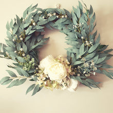Load image into Gallery viewer, Peonies and Hydrangea with blue gum leaf  foliage on a vine wreath