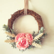 Load image into Gallery viewer, Roses in Pink with Soft Dusty Miller foliage 30cm wreath