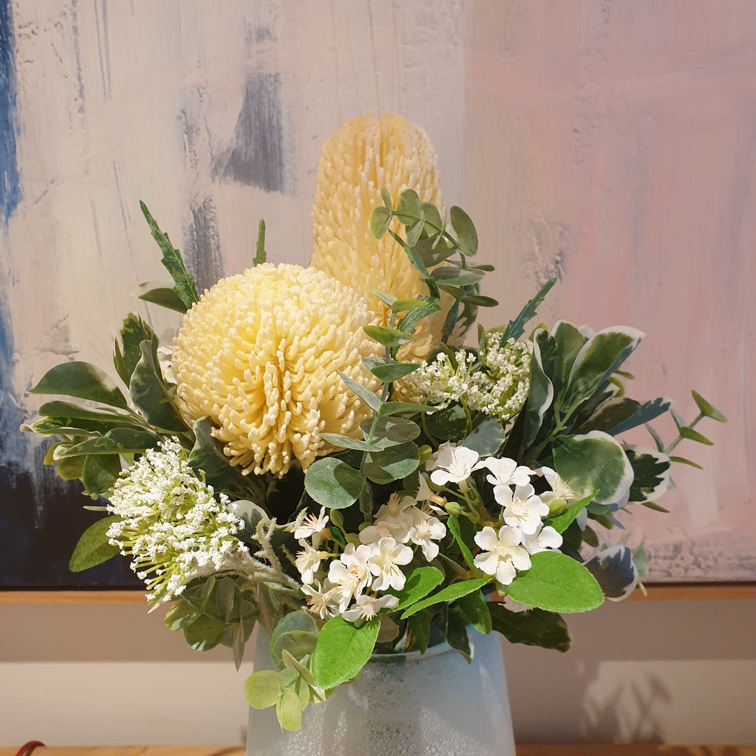 Deep Cream Banksia with mixed flowers and bush foliage Bouquet