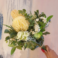 Load image into Gallery viewer, Deep Cream Banksia with mixed flowers and bush foliage Bouquet