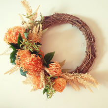 Load image into Gallery viewer, Orange Toned Autumn Breeze Wreath - Orange Pincushion Proteas with autumn coloured foliage Wreath - FREE DELIVERY