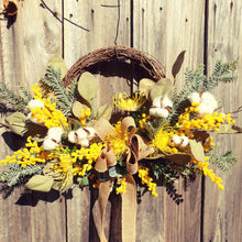 Load image into Gallery viewer, Australian Native Yellow Wattle Wreath