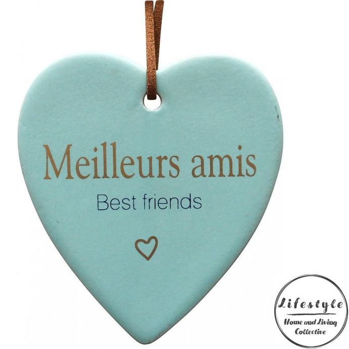 Best Friends French Ceramic Heart