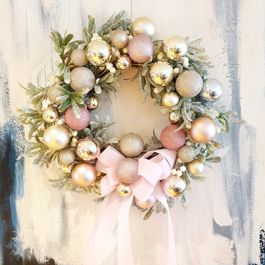 Gorgeous Pink Blush Christmas Wreath