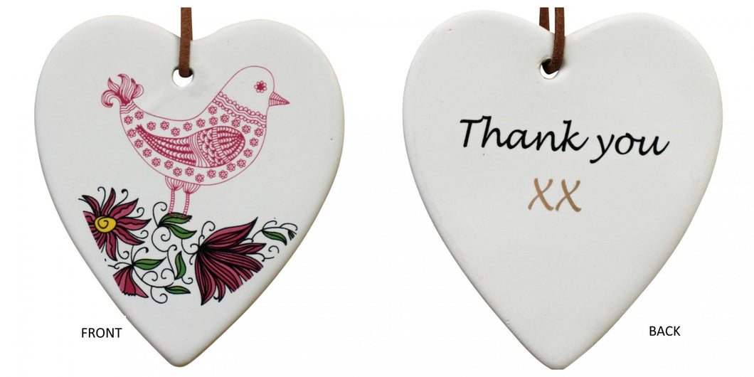 Thank You Bird Ceramic Heart