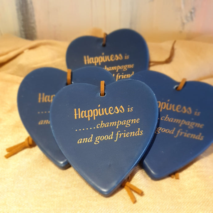 Happiness is champagne and good friends Ceramic Heart