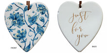 Load image into Gallery viewer, Just for you Blue Bird Ceramic Heart