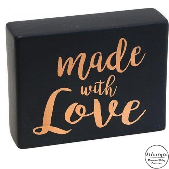 Made with love black ceramic top sign