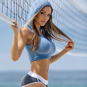 Seamless Sports Crop Top Hooded
