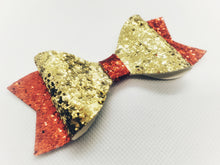 Load image into Gallery viewer, RED GLITTER AND GOLD FAUX LEATHER BOW - Handmade Creations by Liz