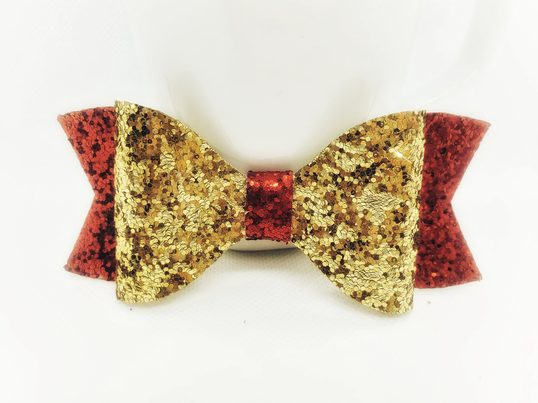 RED GLITTER AND GOLD FAUX LEATHER BOW - Handmade Creations by Liz