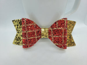 RED/GOLD GATOR AN GOLD GLITTER FAUX LEATHER BOW - Handmade Creations by Liz
