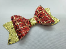 Load image into Gallery viewer, RED/GOLD GATOR AN GOLD GLITTER FAUX LEATHER BOW - Handmade Creations by Liz