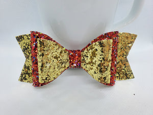 RED PARTY AND GOLD GLITTER FAUX LEATHER BOW - Handmade Creations by Liz