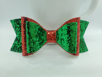 GREEN, RED AND GREEN GLITTER FAUX LEATHER BOW - Handmade Creations by Liz