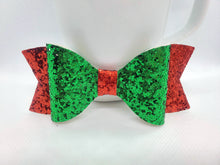 Load image into Gallery viewer, GREEN GLITTER AND RED FAUX LEATHER BOW - Handmade Creations by Liz