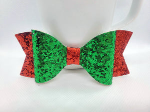 GREEN GLITTER AND RED FAUX LEATHER BOW - Handmade Creations by Liz