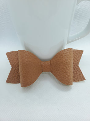 TAN FAUX LEATHER BOW - Handmade Creations by Liz