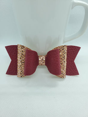 BURGUNDY AND ROSE GOLD GLITTER FAUX LEATHER BOW - Handmade Creations by Liz