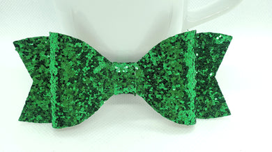 GREEN GLITTER FAUX LEATHER BOW - Handmade Creations by Liz