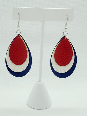 FAUX LEATHER EARRINGS - RED, WHITE SHIMMER, AND BLUE - Handmade Creations by Liz