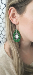 FAUX LEATHER EARRINGS - WHITE BUFFALO CHECK CHRISTMAS TREE CHARM AND GREEN GLITTER - Handmade Creations by Liz