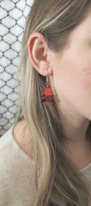 FAUX LEATHER EARRINGS - RED BUFFALO CHECK CHRISTMAS TREE - Handmade Creations by Liz