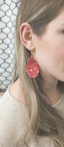 FAUX LEATHER TEARDROP EARRINGS - RED SNOWFLAKES - Handmade Creations by Liz