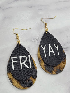 """FRIYAY"" BLACK AND LEOPARD PRINT FAUX LEATHER EARRINGS - TEARDROP"