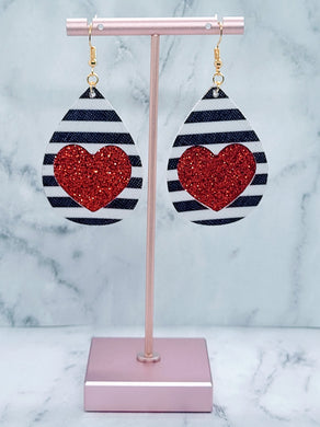 BLACK AND WHITE STRIPES HEART AND RED SHIMMER FAUX LEATHER EARRINGS - TEARDROP - Handmade Creations by Liz