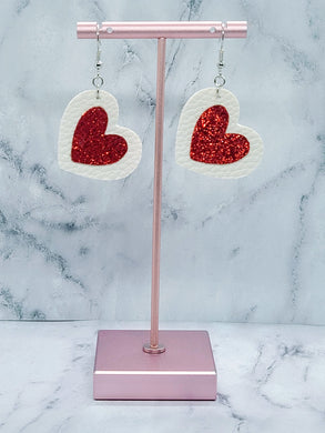 HEART SHAPED RED SHIMMER AND WHITE - FAUX LEATHER EARRINGS - Handmade Creations by Liz