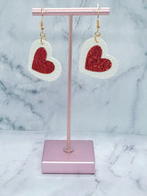 Load image into Gallery viewer, HEART SHAPED RED SHIMMER AND WHITE - FAUX LEATHER EARRINGS - Handmade Creations by Liz