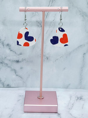 RED, WHITE AND BLUE HEARTS FAUX LEATHER EARRINGS - HEART