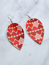 Load image into Gallery viewer, HEARTS PATTERN MAGNOLIA - FAUX LEATHER EARRINGS - Handmade Creations by Liz