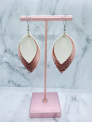 WHITE SHIMMER AND ROSE GOLD MAGNOLIA - FAUX LEATHER EARRINGS