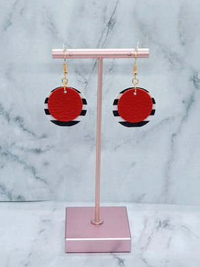 RED WITH BLACK AND WHITE STRIPES FAUX LEATHER EARRINGS - CIRCLE