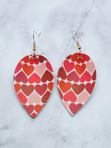 HEARTS PATTERN MAGNOLIA - FAUX LEATHER EARRINGS - Handmade Creations by Liz