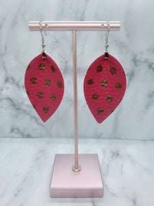 HOT PINK WITH GOLD DOTS MAGNOLIA - FAUX LEATHER EARRINGS