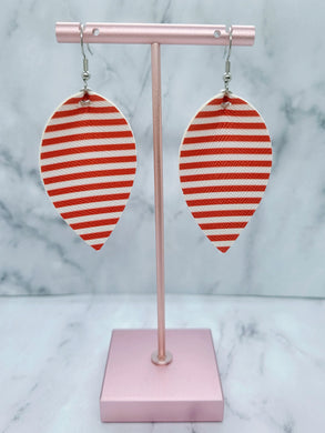 WHITE AND RED STRIPES MAGNOLIA - FAUX LEATHER EARRINGS