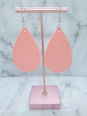 PINK LARGE TEARDROP - FAUX LEATHER EARRINGS