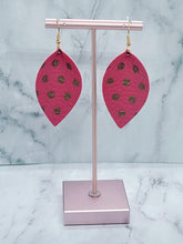 Load image into Gallery viewer, HOT PINK WITH GOLD DOTS MAGNOLIA - FAUX LEATHER EARRINGS