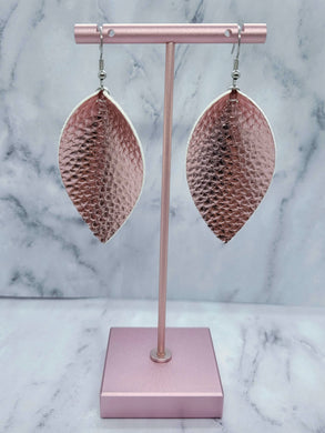 ROSE GOLD MAGNOLIA - FAUX LEATHER EARRINGS