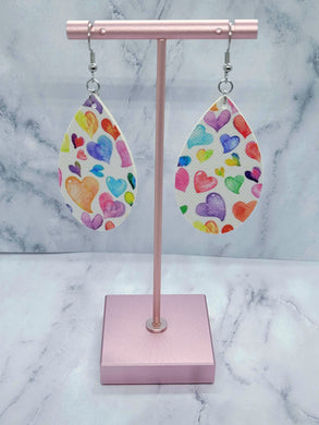 WHITE WITH COLORFUL HEARTS TEARDROP- FAUX LEATHER EARRINGS