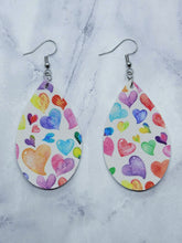 Load image into Gallery viewer, WHITE WITH COLORFUL HEARTS TEARDROP- FAUX LEATHER EARRINGS