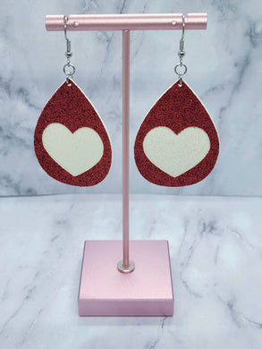RED SHIMMIER WITH WHITE SHIMMER HEART TEARDROP - FAUX LEATHER EARRINGS