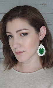 WHITE WITH GREEN GLITTER CLOVER FAUX LEATHER EARRINGS - TEARDROP - Handmade Creations by Liz