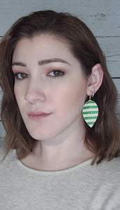 LUCKY STRIPES FAUX LEATHER EARRINGS -  MAGNOLIA