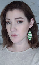 Load image into Gallery viewer, LUCKY STRIPES LEAF - FAUX LEATHER EARRINGS - Handmade Creations by Liz