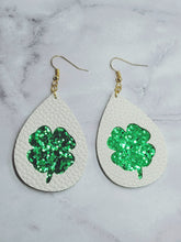Load image into Gallery viewer, WHITE WITH GREEN GLITTER CLOVER FAUX LEATHER EARRINGS - TEARDROP - Handmade Creations by Liz