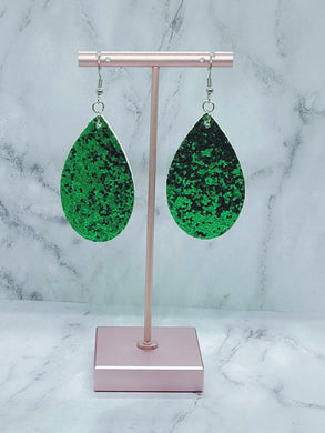 GREEN GLITTER FAUX LEATHER EARRINGS - TEARDROP